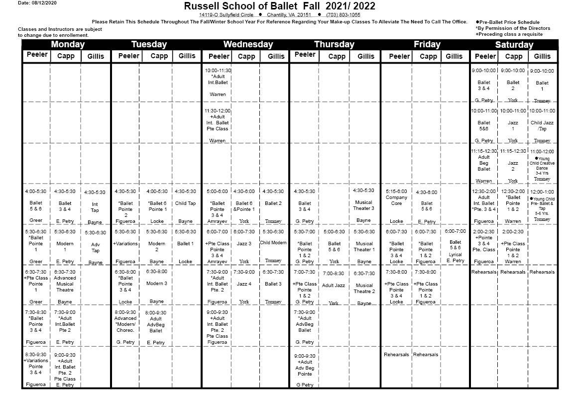 Class Schedule 2021-2022 names